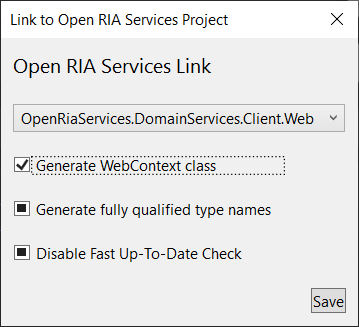 Manage OpenRiaServices Project Link Dialog